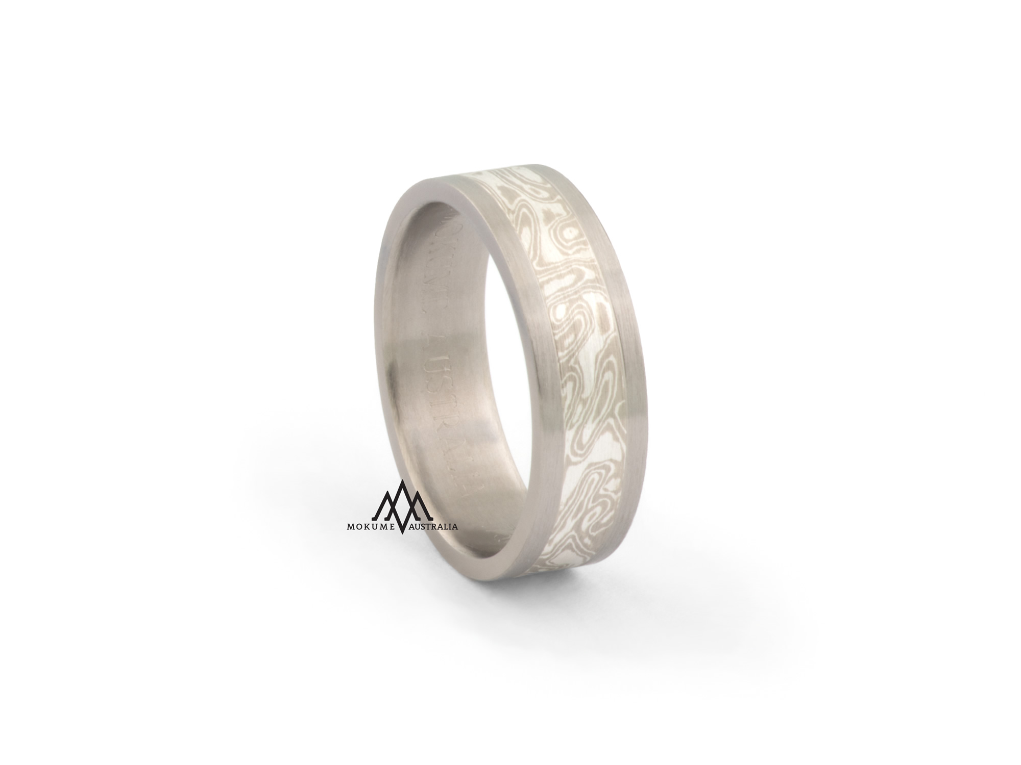 Grey/white centre flat mokume-gane ring